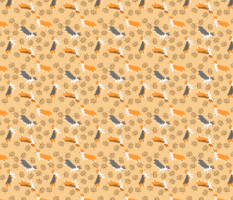 Ditzy seasons - fall Pembrokes fabric by rusticcorgi on Spoonflower - custom fabric