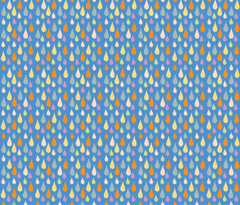 Multi Coloured rain - retro blue fabric by cherryandcinnamon on Spoonflower - custom fabric