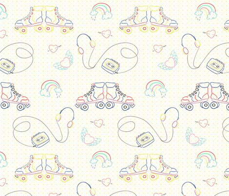 80s Embroidery motifs - small fabric by cherryandcinnamon on Spoonflower - custom fabric