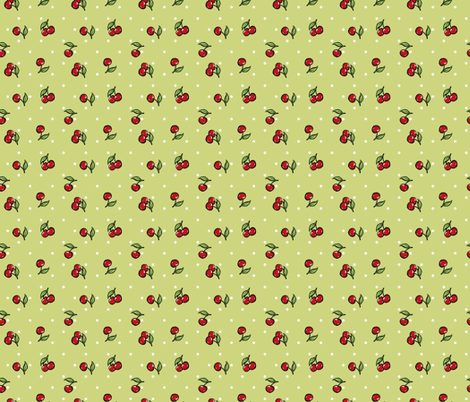 Vintage Cherry Green fabric by cherryandcinnamon on Spoonflower - custom fabric