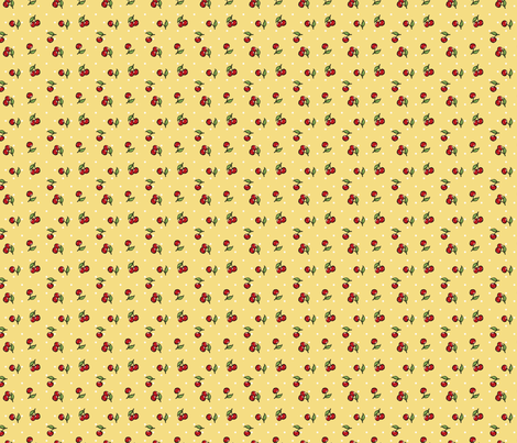 Vintage Cherry Yellow fabric by cherryandcinnamon on Spoonflower - custom fabric