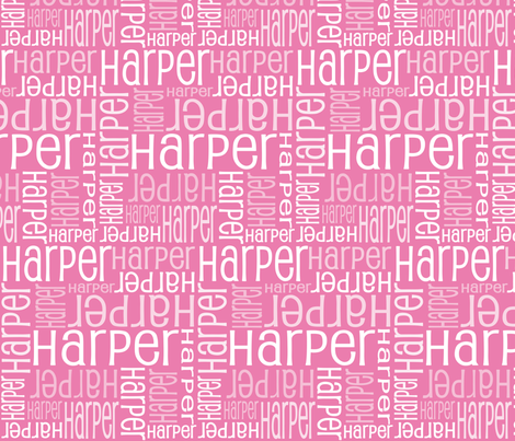 Personalised Name Fabric - Pink fabric by shelleymade on Spoonflower - custom fabric
