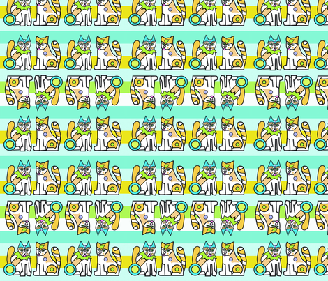 Cat_8x8_with_stripes_150Dpi fabric by firebelle on Spoonflower - custom fabric