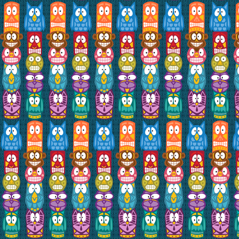 Totem Poles fabric by holladaydesigns on Spoonflower - custom fabric