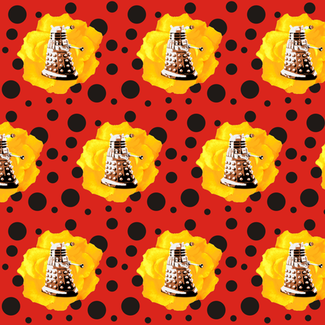 Darlek Yellow Rose on Red Black Polka fabric by smuk on Spoonflower - custom fabric
