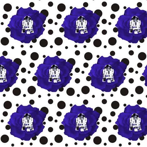 R2 Blue Rose on Black &amp; White Polka fabric by smuk on Spoonflower - custom fabric