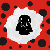 Vader White Rose on Red Black Polka