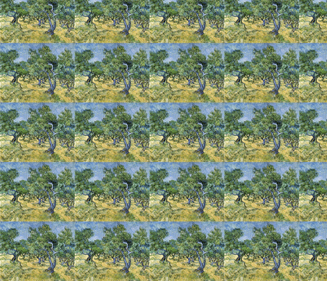 Olive Trees, Van Gogh fabric by ceruleana_fiber_arts on Spoonflower - custom fabric