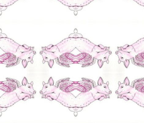 Flying Pig Repeat fabric by ceruleana_fiber_arts on Spoonflower - custom fabric