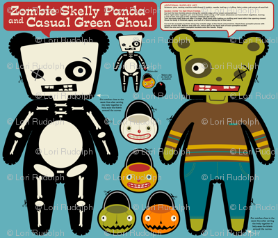 Zombie Skelly Panda and Casual Green Ghoul ~ Reversible Doll