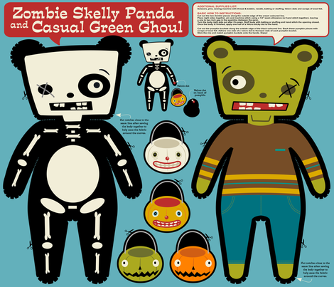 Zombie Skelly Panda and Casual Green Ghoul ~ Reversible Doll fabric by retrorudolphs on Spoonflower - custom fabric