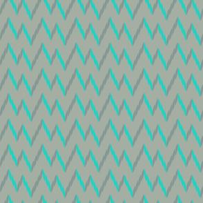 knit zig zag - gray & turquoise