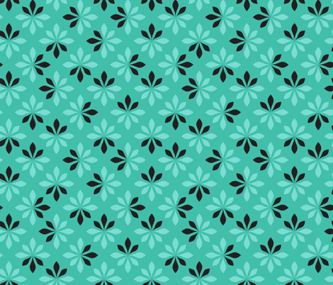 loves me loves me not - turquoise fabric by ravynka on Spoonflower - custom fabric