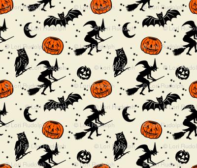 Bats and Jacks ~ Black on Cream with Orange Jacks