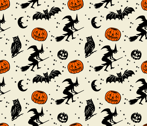 Bats and Jacks ~ Black on Cream with Orange Jacks