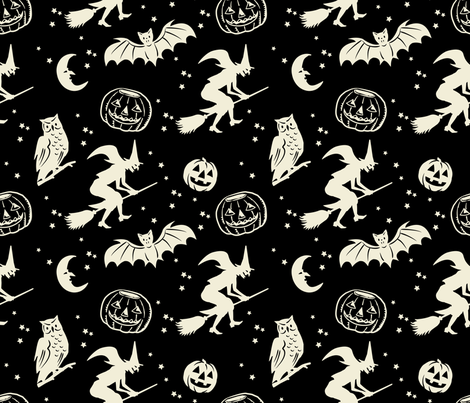 Bats and Jacks ~ Black with Cream fabric by retrorudolphs on Spoonflower - custom fabric
