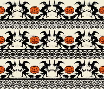 BEWITCHED ~ Black and Orange on Cream