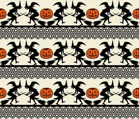 BEWITCHED ~ Black and Orange on Cream fabric by retrorudolphs on Spoonflower - custom fabric