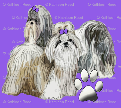 Shih Tzus and Paws on Violet Background