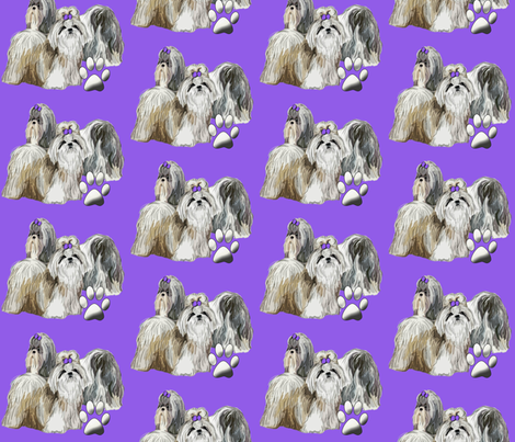 Shih Tzus and Paws on Violet Background fabric by dogdaze_ on Spoonflower - custom fabric