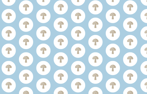 Woodland Magic Mushroom Blue fabric by emma_smith on Spoonflower - custom fabric