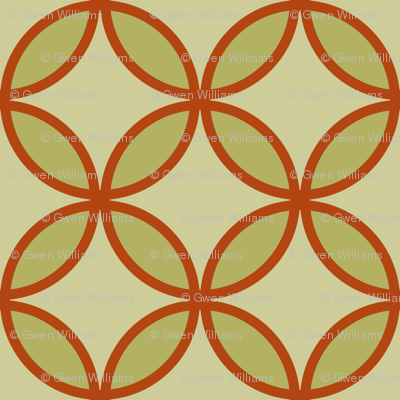 circles diamonds olive burnt orange
