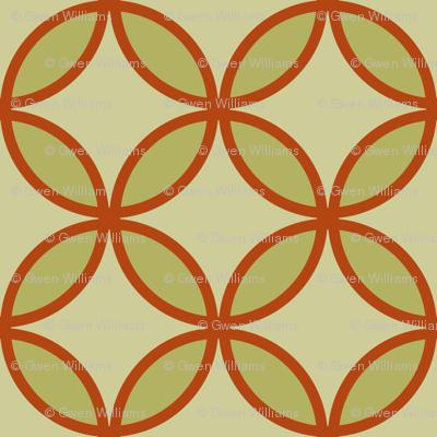 circles diamonds olive burnt orange