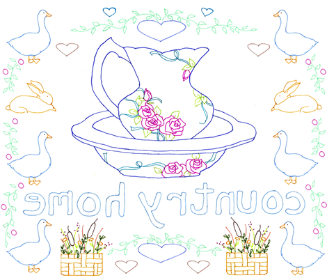 Country Home Embroidery Pattern fabric by countrygarden on Spoonflower - custom fabric
