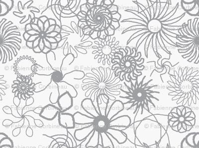 Rosaces grises fond blanc