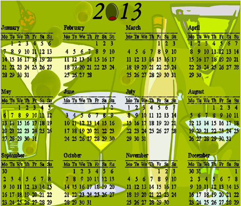 2013 MARTINI COCKTAIL CALENDAR fabric by bluevelvet on Spoonflower - custom fabric