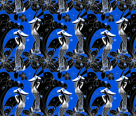 do I know you in blue fabric by kociara on Spoonflower - custom fabric