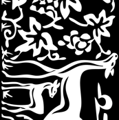 Arts & Crafts deer and grapes vector -BLACK