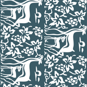 Arts & Crafts deer and grapes vector-DK-BLUE-195