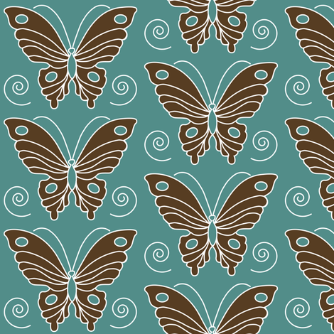 butterfly-2-vector-dk-brown-30-BLUEGREEN-175 fabric by mina on Spoonflower - custom fabric