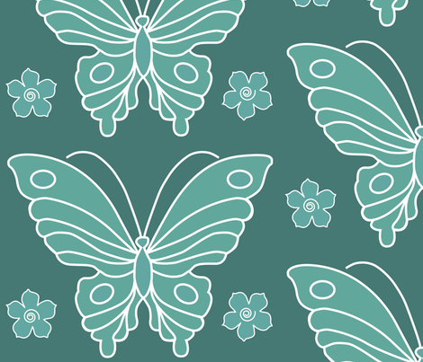 183-butterfl-2-vector-NEW-chevreul-DKBLGRN175-grns-175-170-w-fls fabric by mina on Spoonflower - custom fabric