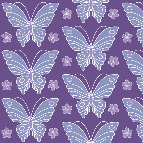 Butterfly-2-vector-NEW-chevreul-DK-PURPLE-265-lilac-264-periwinkle-231-w-flowerss fabric by mina on Spoonflower - custom fabric