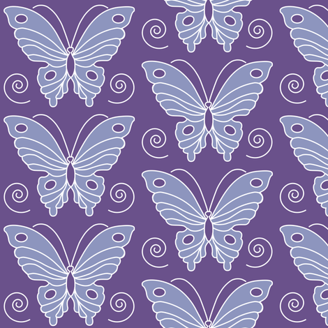 183-butterfly-2-vector-NEW-chevreul-DK-PURPLE-265-periwinkle-231 fabric by mina on Spoonflower - custom fabric