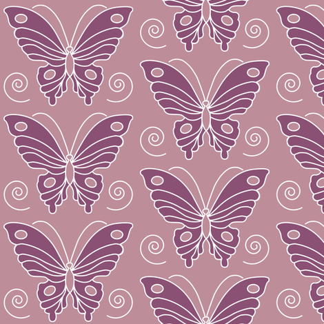 183-butterfly-2-vector-NEW-chevreul-PEACH-344-eggplant-325 fabric by mina on Spoonflower - custom fabric