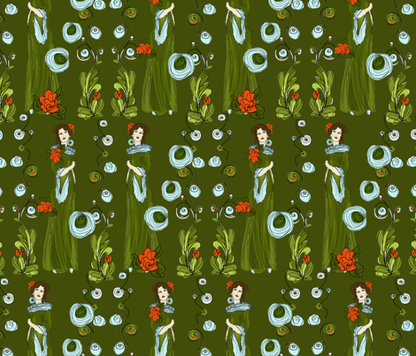 Rose in green fabric by kociara on Spoonflower - custom fabric