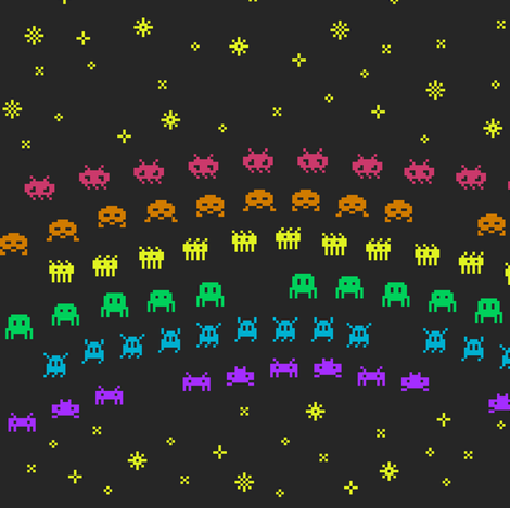 rainbow eight-bit aliens fabric by weavingmajor on Spoonflower - custom fabric