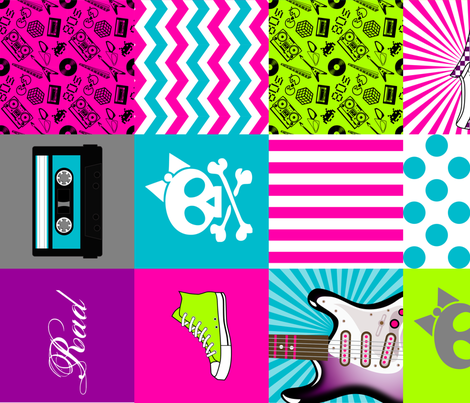 Girls Rock Cheater Quilt or Quilting Squares fabric by risarocksit on Spoonflower - custom fabric
