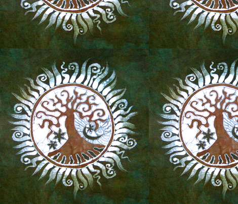Green Tree of Life by Batikwalla fabric by batikwalla on Spoonflower - custom fabric