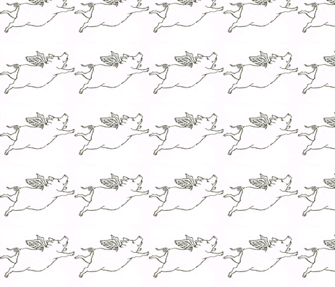 When Piggies Fly fabric by ceruleana_fiber_arts on Spoonflower - custom fabric