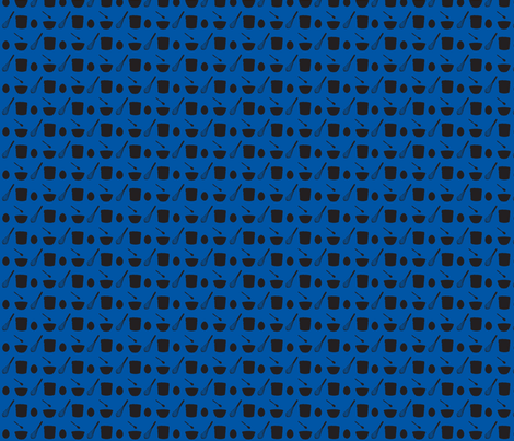 Souffle: Eggs Stir Mix Bake-blue black fabric by morrigoon on Spoonflower - custom fabric