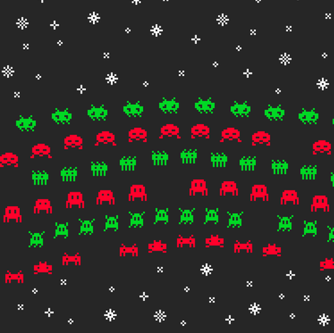 Christmas Aliens fabric by weavingmajor on Spoonflower - custom fabric