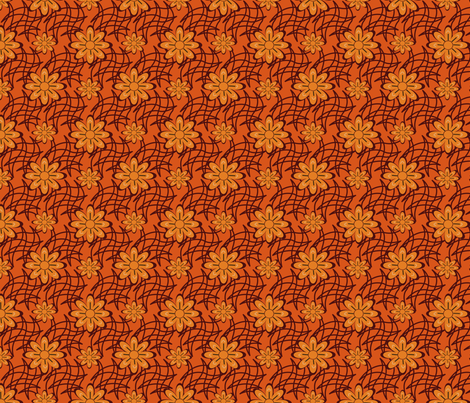 Orange Flower on a Web fabric by olumna on Spoonflower - custom fabric