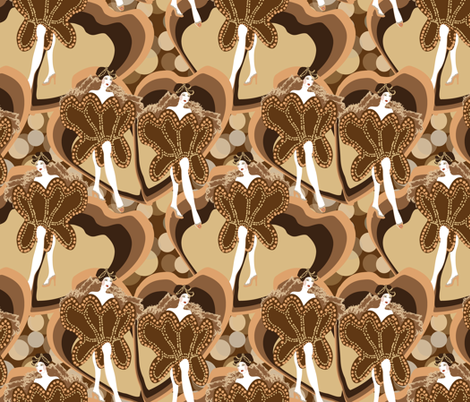 dancers in sepia fabric by kociara on Spoonflower - custom fabric