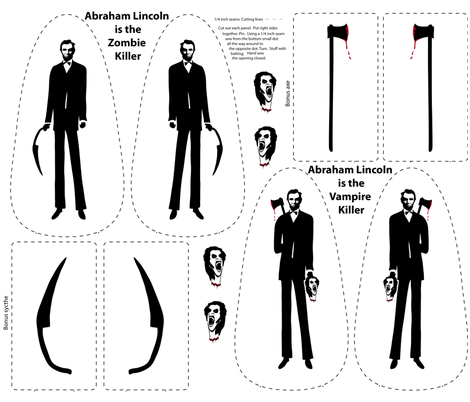 Abe Lincoln as the Zombie and Vampire Killer fabric by vo_aka_virginiao on Spoonflower - custom fabric
