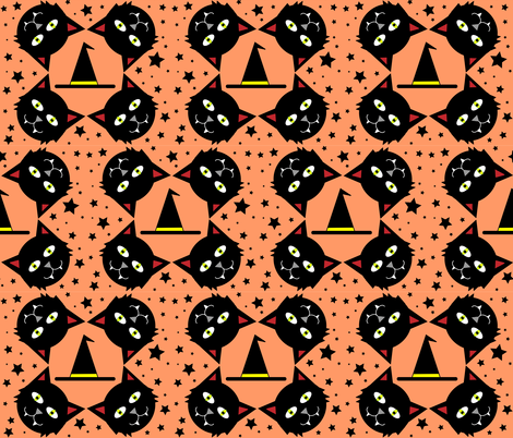 The Black Cat fabric by kel_marie_n on Spoonflower - custom fabric