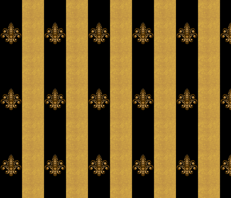 Fleur de Lis on Black w Gold Stripes fabric by glimmericks on Spoonflower - custom fabric
